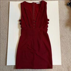 maroon body con dress